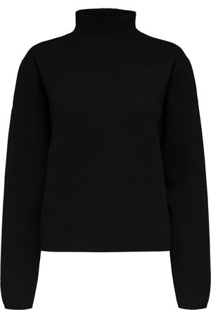 Selected SLFCali Black Knitted Highneck Top