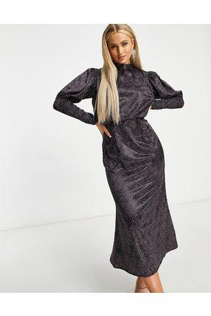 Chi Chi London Puff shoulder long sleeve midi dress in deep ditsy print
