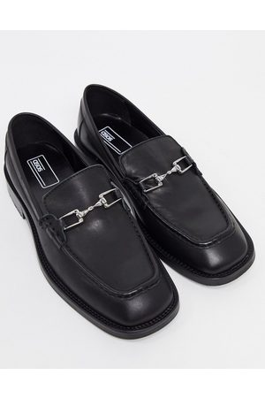 ASOS Loafers in leather with square toe and snaffle detail