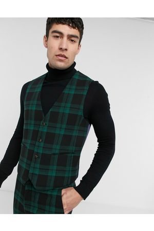 ASOS Super skinny wool mix suit vest in tartan