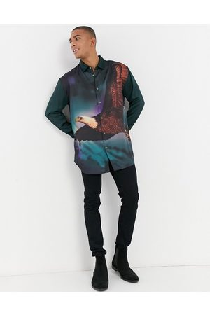ASOS Oversized shirt with eagle placement print in satin-Navy