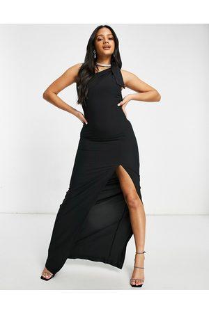 Vesper One shoulder maxi dress with thigh slit in