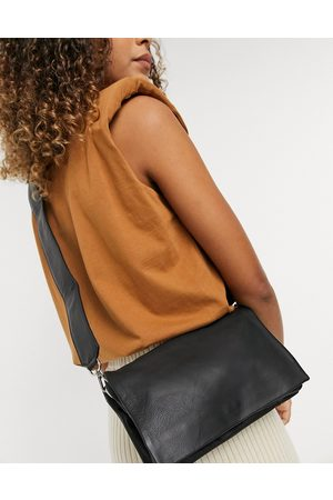 ASOS Leather multi gusset crossbody bag with wide strap