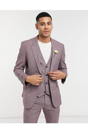 ASOS Wedding skinny suit jacket in wine crosshatch