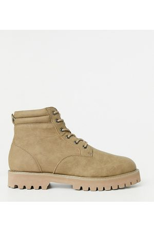 ASOS Wide Fit lace up boots in stone faux suede with stone sole