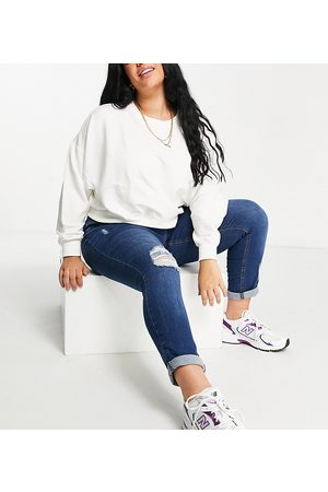 Yours Ripped mom jeans in bright blue wash-Blues