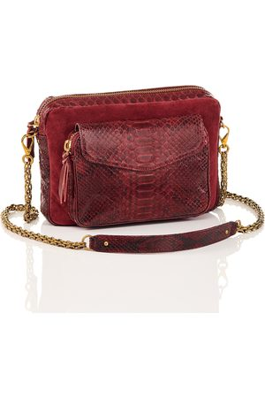 CLARIS VIROT Python and Suede Bag Big Charly Burgundy Chain