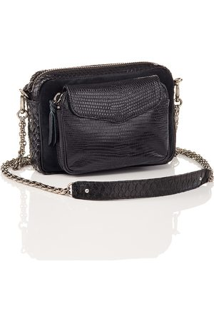 CLARIS VIROT Python and Suede Black Charly Bag