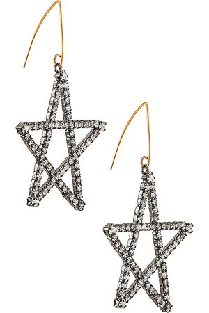 ELIZABETH COLE Starlight Earrings in Metallic Silver.