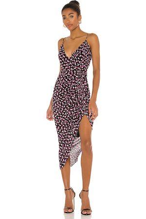 Karina Grimaldi Marissa Print Dress in Black, Pink.