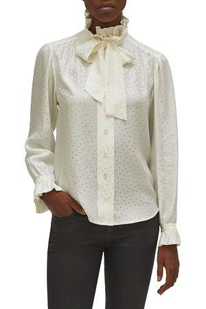 Equipment Women's Loudette Illusion Polka Dot Tie-Neck Silk Blouse - - Size XL
