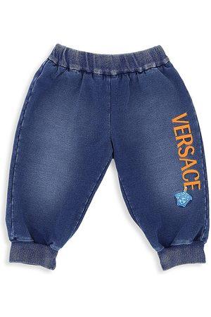 VERSACE Baby's Denim-Print Logo Track Pants - - Size 9-12 Months