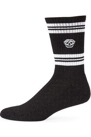 Alexander McQueen Men's Skull Logo Sport Crew Socks - - Size Large