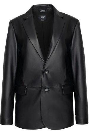 LaMarque Women's Felina Leather Boyfriend Blazer - - Size XS