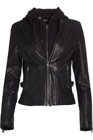 LaMarque Women's Arlette Leather Biker Jacket - - Size Small