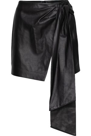 LaMarque Women's Iva Leather Draped Skirt - - Size 4