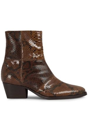 Hudson London Fogg Snake Print Brown Leather Boot