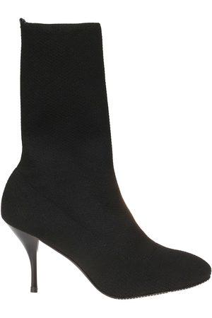 Stuart Weitzman Women Ankle Boots - WOMEN'S VIOLETTA80BLACK FABRIC ANKLE BOOTS