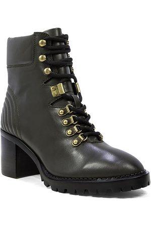 Lola Cruz Dark Green Leather Heeled Ankle Boots