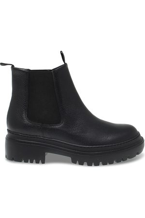 Pollini WOMEN'S 21384BLACK LEATHER ANKLE BOOTS