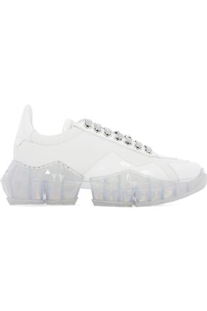 Jimmy Choo WOMEN'S DIAMONDFCATWHITE LEATHER SNEAKERS