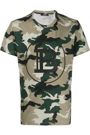 Balmain Camouflage Logo Print T-Shirt