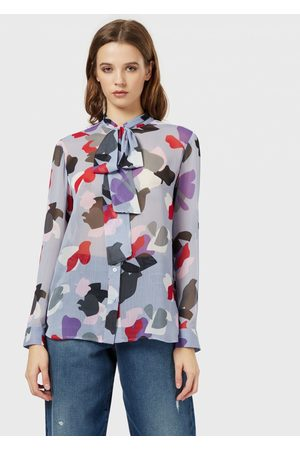 Emporio Armani Chiffon blouse with a floral motif and bow