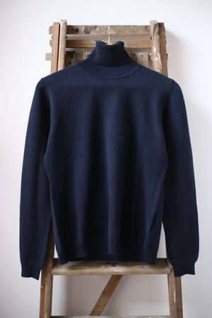 JUMPER 1234 Navy Classic Roll Collar Cashmere