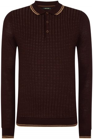 Remus Uomo Spotted Long Sleeve Knitted Burgundy Colour: Burgundy, Size