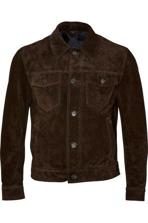 BRIONI Suede Front Pocket Jacket (Brown)