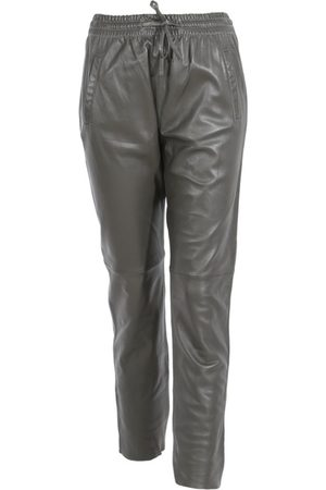 Oakwood Gift Dark Khaki Leather Trousers