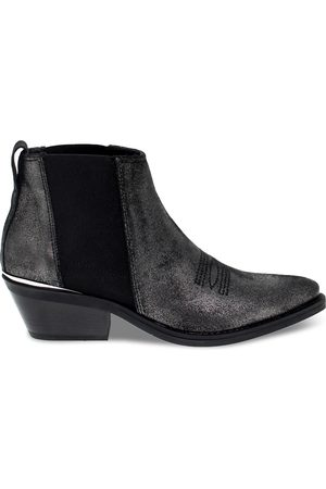 Janet&Janet WOMEN'S JANET44213F GREY LEATHER ANKLE BOOTS