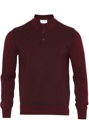 BRIONI Long Sleeve 'B' Link Wool Polo (Bordeaux)