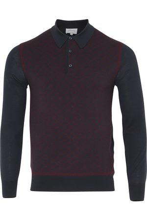 BRIONI Long Sleeve 'B' Link Wool Polo (Bordeaux & Navy)