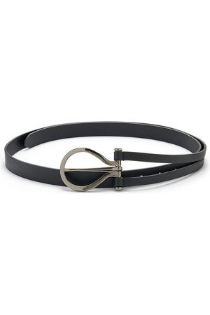 Anderson's ANDERSONS Oversize Curve Buckle Leather Belt