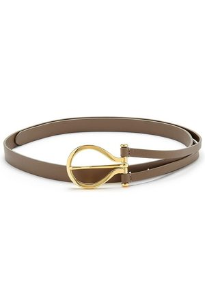 Anderson's ANDERSONS Oversize Curve Buckle Leather Belt - Taupe