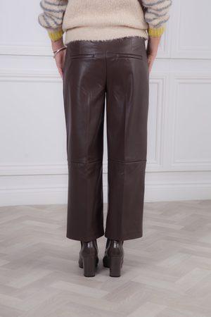 Mac Women Leather Pants - Light Chocolate Chiara Faux Leather Culotte