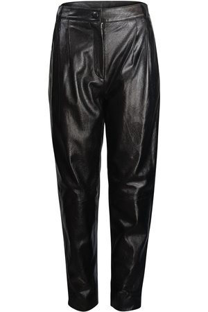 Moschino Women Leather Pants - Boutique Leather Carrot Leg Trouser