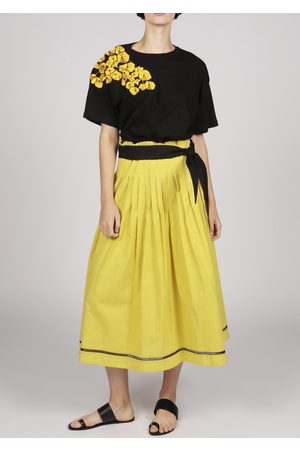 MARAINA LONDON FELIPA pleated cotton midi skirt