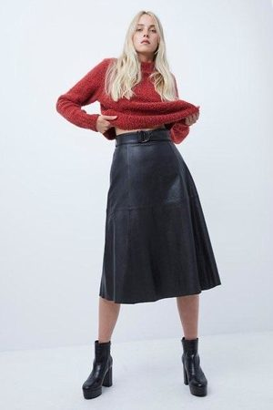 French Connection Women Leather Skirts - Arlan Leather Midi Skirt- black- 73PAI