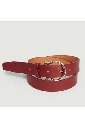 MAISON BOINET Leather Belt Burgundy