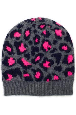 The West Village Grey/Pink Leopard Beanie