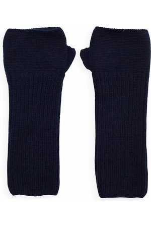 SOMERVILLE . Cashmere Loose Rib Wrist Warmers Navy