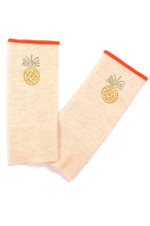 Adeela Salehjee Munich Oatmeal Fingerless Glove in Solid Colour, Style: Pineapple