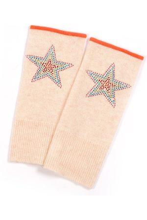 Adeela Salehjee Munich Oatmeal Fingerless Glove in Solid Colour, Style: Rainbow Star
