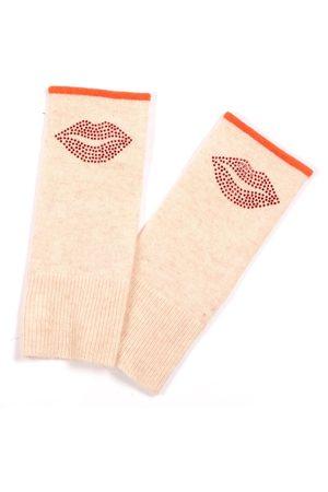 Adeela Salehjee Munich Oatmeal Fingerless Glove in Solid Colour, Style: Lip