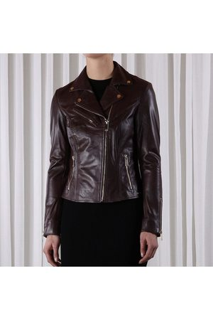 Rino and Pelle Ghost leather biker jacket, Colour: SEAL BRWN