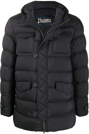 HERNO Feather Down Padded Coat Midnight