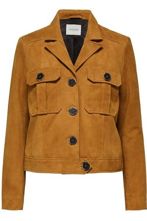 SELECTED SLFSTORAY SUEDE LEATHER JACKET BRONZE