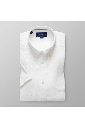 Eton Slim Fit White Linen Short Sleeve Shirt 02525759300
